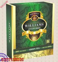 """Чай WILLIAMS """"Ceylon Green"""" зеленый байховый на чашку 100 пакетов x 2 г"""