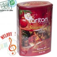 """Чай TARLTON """"Jingle Bells Blend"""" """"Рождественский Звонок"""" Музыкальная коллекция, чёрный OP1 Цейлонский с Саусепом и Клубникой в ж/б 200 г"""