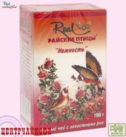 """Чай Real """"Райские птицы"""" """"Нежность"""" черный ароматизированный лепестками Розы 100 г"""